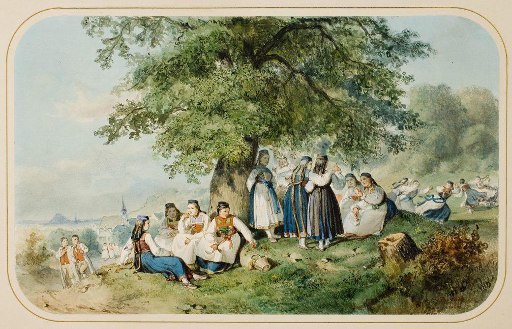 Nach dem Kirchgang in Betzingen, Aquarell von Reinhold Braun, um 1860 [Copyright: Landesmedienzentrum Baden-Württemberg]
